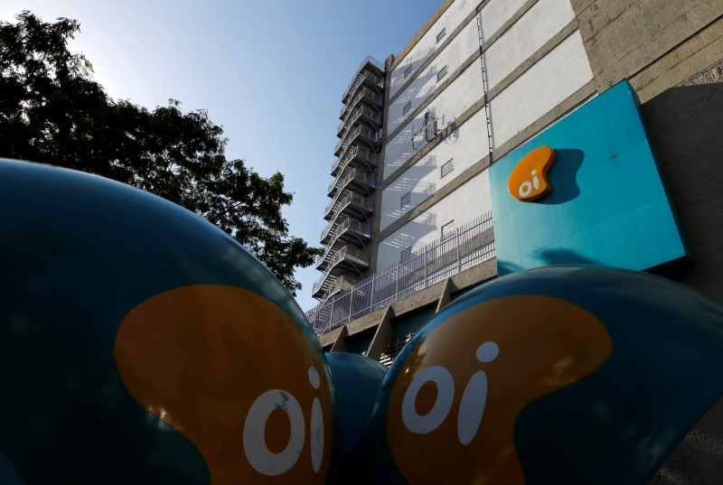The headquarters of the Brazil's largest fixed-line telecoms group Oi, is pictured in Rio de Janeiro