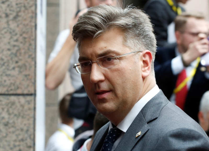 Croatia's Prime Minister Andrej Plenkovic arrives at the EU summit meeting in Brussels
