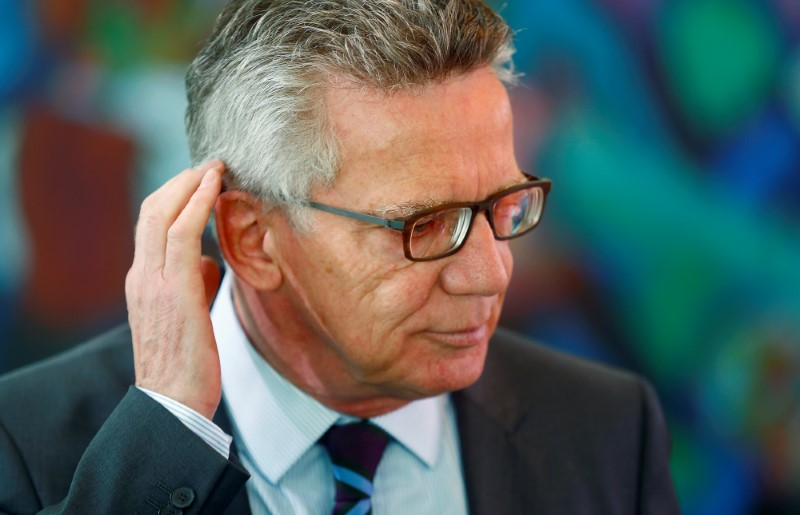 German Interior Minister Maiziere arrives for the weekly cabinet meeting at the Chancellery in Berlin