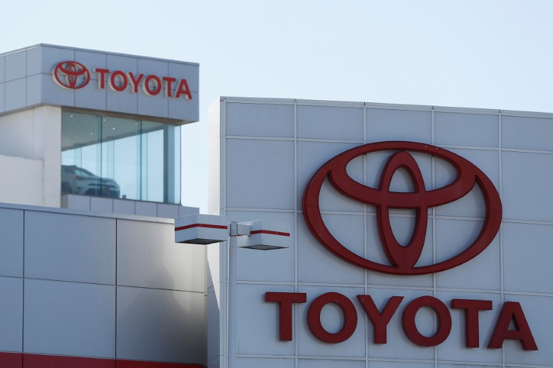 Toyota logos are seen at City Toyota in Daly City, California