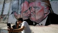Trump and Netanyahu share a kiss on West Bank wall mural