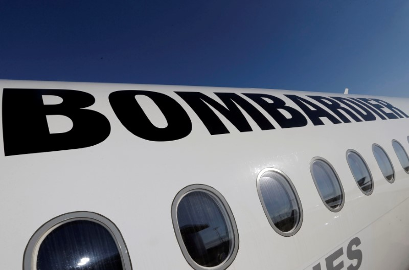 A Bombardier CSeries aircraft is pictured during a news conference to announce a partnership between Airbus and Bombardier on the C Series aircraft programme, in Colomiers near Toulouse