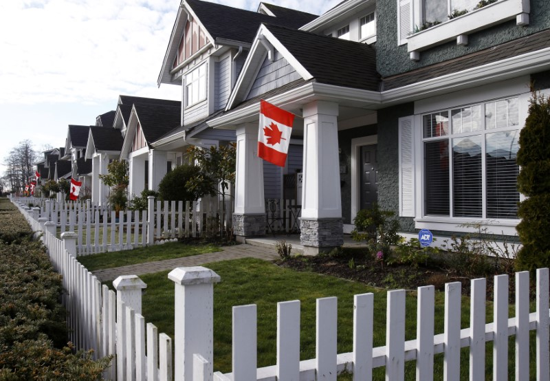 Canadian flags are seen on houses in the Vancouver suburb of Richmond prior to the Vancouver 2010 Winter Olympic Games