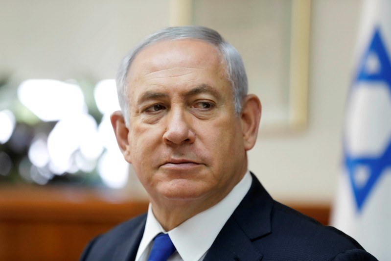 Israeli PM Netanyahu attends the weekly cabinet meeting at his office in Jerusalem