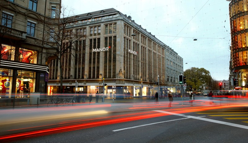 Longtime exposure shows traffic in front of the Manor department store in Zurich