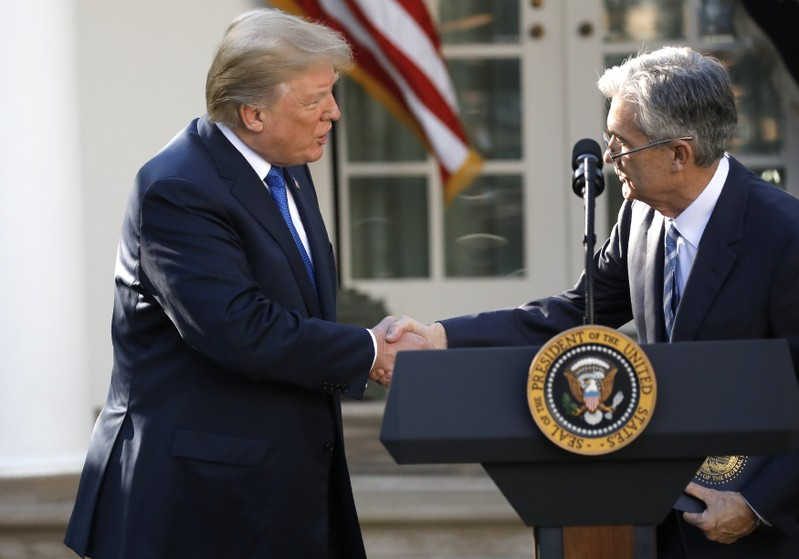 U.S. President Donald Trump shakes hands with Jerome Powell, his nominee to become chairman of the U.S. Federal Reserve at the White House in Washington