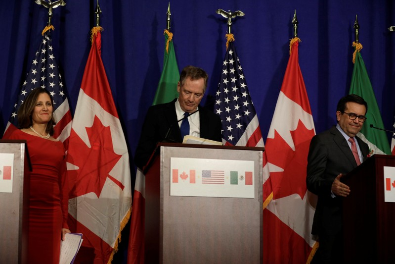 Canadian Foreign Affairs Minister Chrystia Freeland, U.S. Trade Rep Robert Lighthizer and Mexican Secretary of Economy Ildefonso Guajardo Villarreal make statements to the media