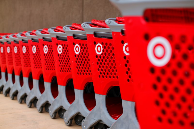 Target shopping carts a shows outside a newly constructed Target store in San Diego, California
