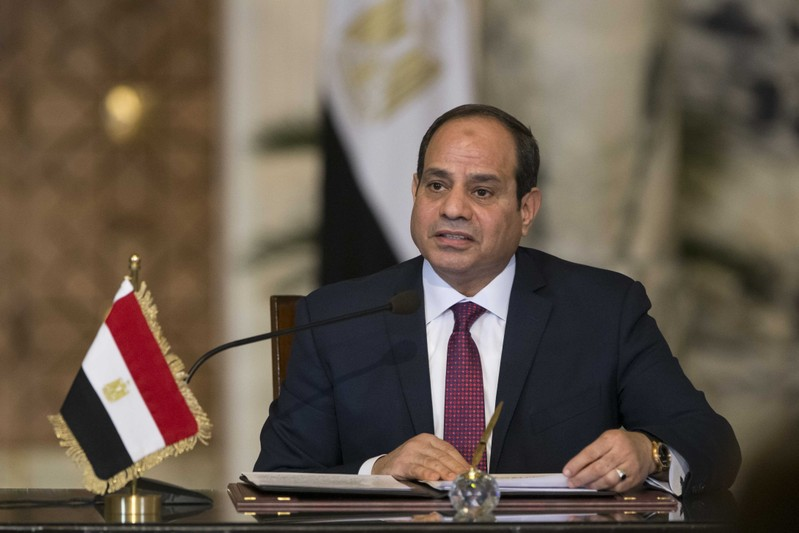 Egypt's President Abdel Fattah al-Sisi speaks during a news conference after the talks with Russia's President Vladimir Putin in Cairo