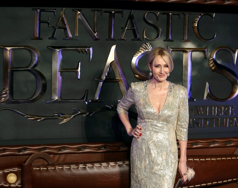 Writer J.K. Rowling poses as she arrives for the European premiere of the film