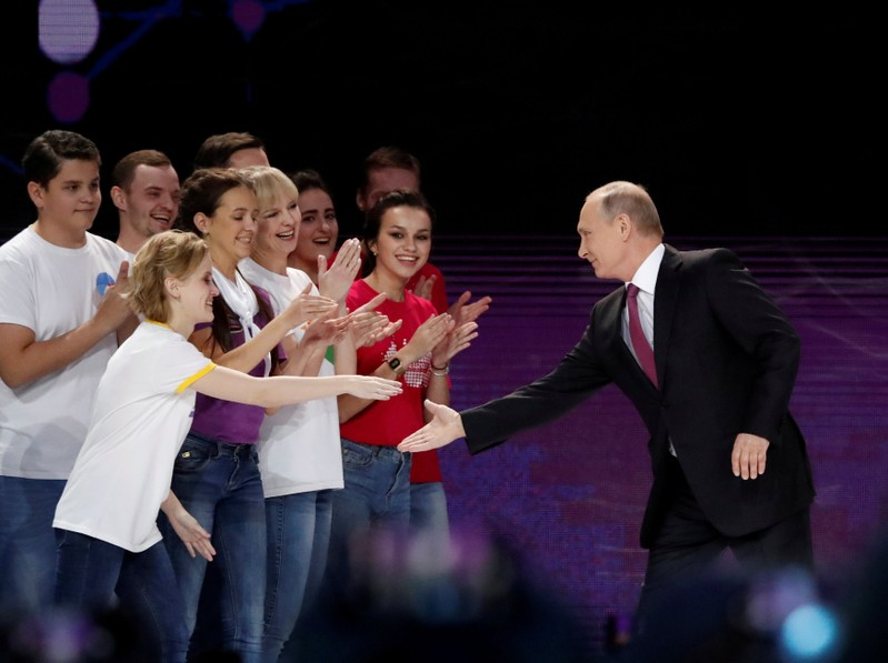 Russian President Putin arrives at the congress of volunteers in Moscow