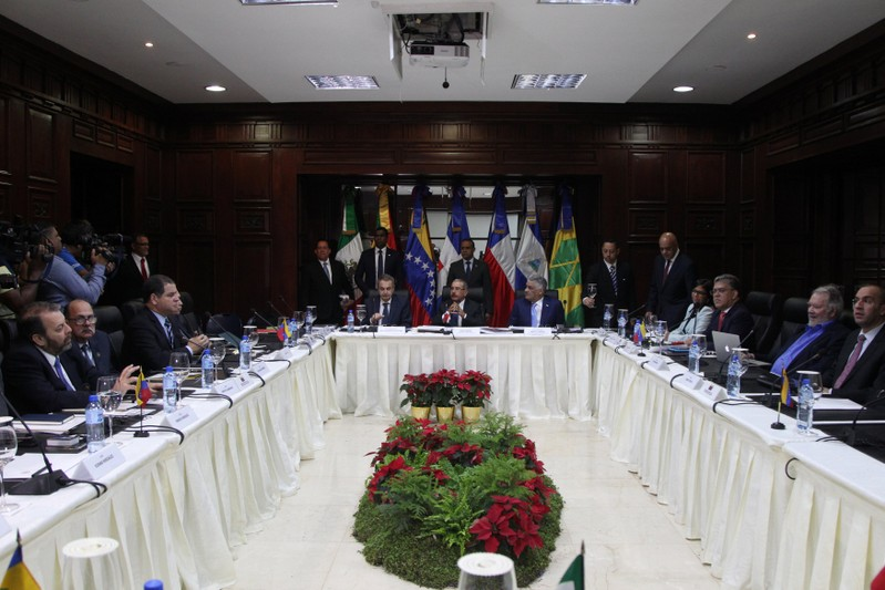 A general view of the Venezuelan government and opposition meeting in Santo Domingo