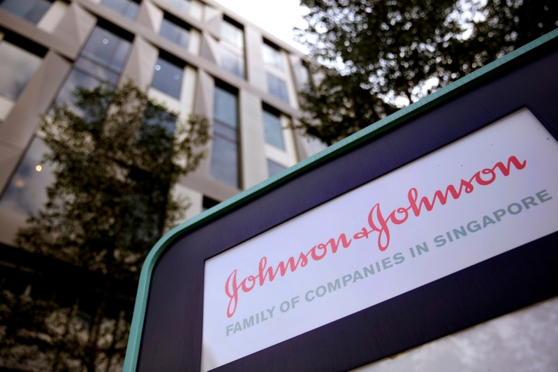 FILE PHOTO: Johnson and Johnson logo is seen at an office building in Singapore
