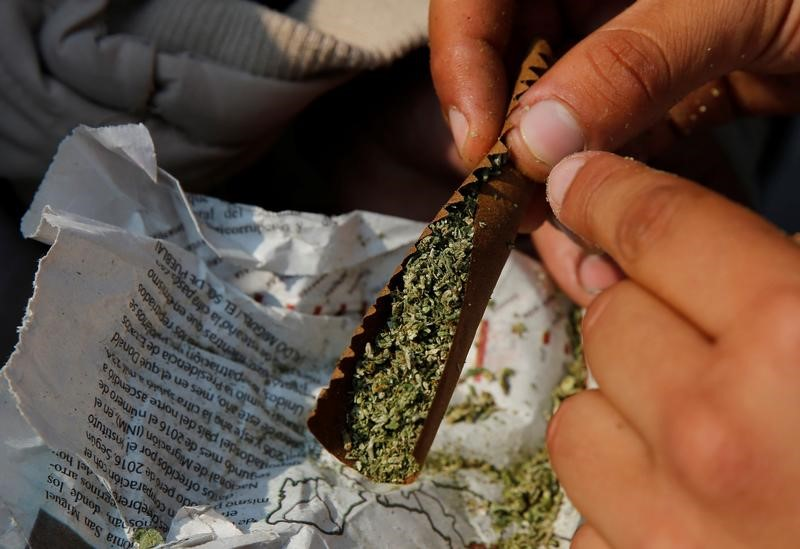 A participant prepares a marijuana joint during the Global Marijuana March 2017, in support of the legalization of marijuana in Mexico City