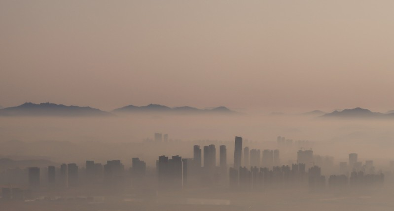 The city skyline of Incheon is pictured early morning in an aerial view south of Seoul, South Korea