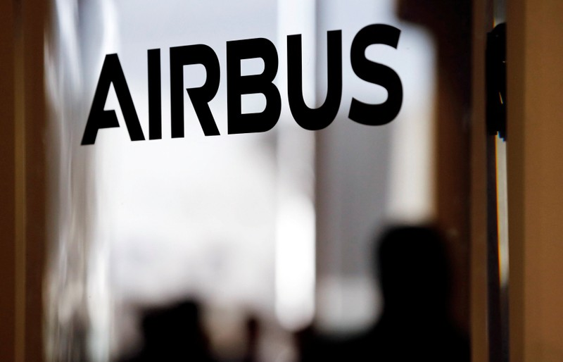 FILE PHOTO: An Airbus logo pictured during delivery of the new Airbus A380 aircraft to Singapore Airlines at Airbus's headquarters in Colomiers, France