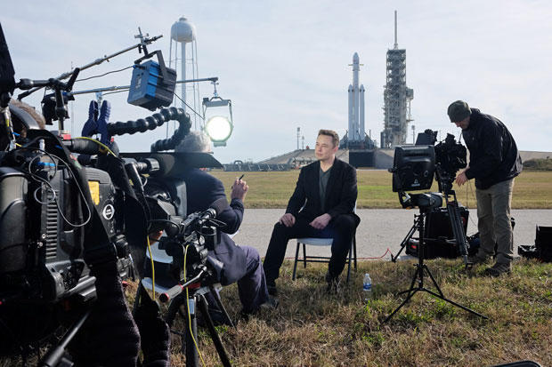 "SpaceX founder ""giddy"" ahead of historic Falcon Heavy launch"