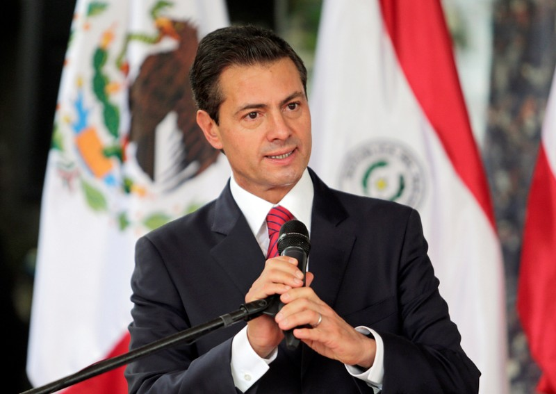 Mexico's President Enrique Pena Nieto addresses the audience during an event, in Asuncion