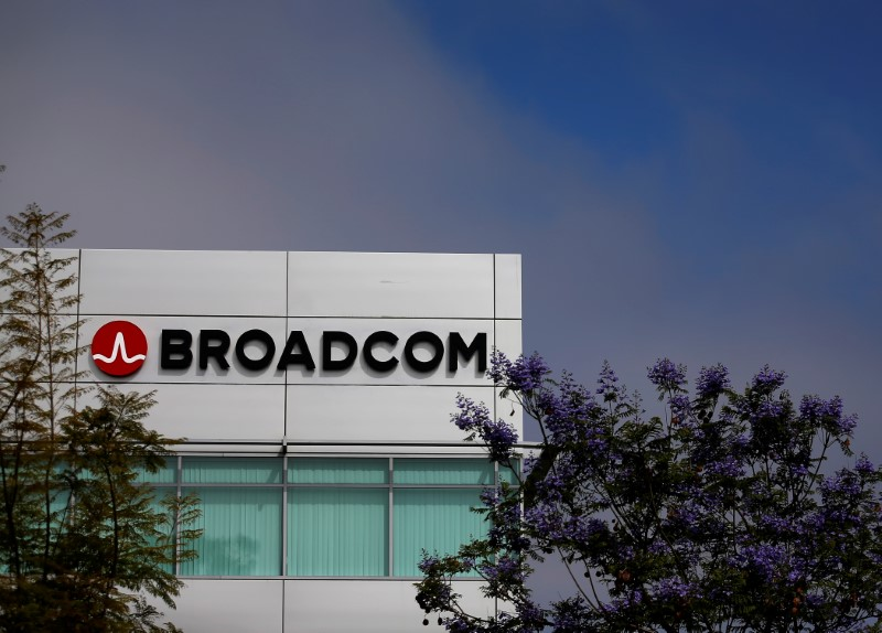 Broadcom Limited company logo is pictured on an office building in Rancho Bernardo, California