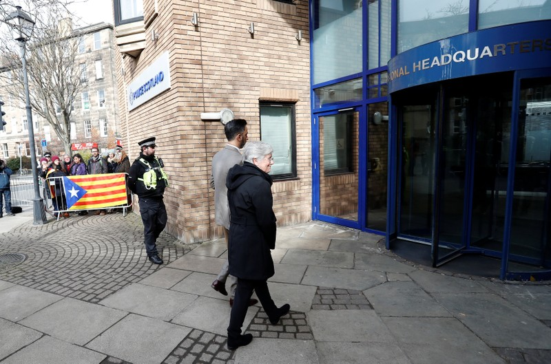 Catalunya's former education minister Carla Ponsati arrives to hand herself in at a police station in Edinburgh, Scotland