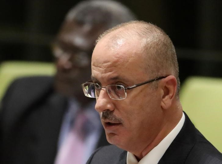 Prime Minister Rami Hamdallah of Palestine speaks during a high-level meeting on addressing large movements of refugees and migrants at the United Nations General Assembly in New York