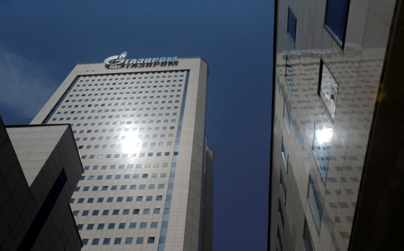 FILE PHOTO: General view shows headquarters of Gazprom in Moscow