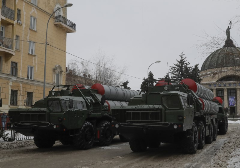 Russian S-400 missile air defence systems are seen before the military parade to commemorate the 75th anniversary of the battle of Stalingrad in World War Two, in Volgograd