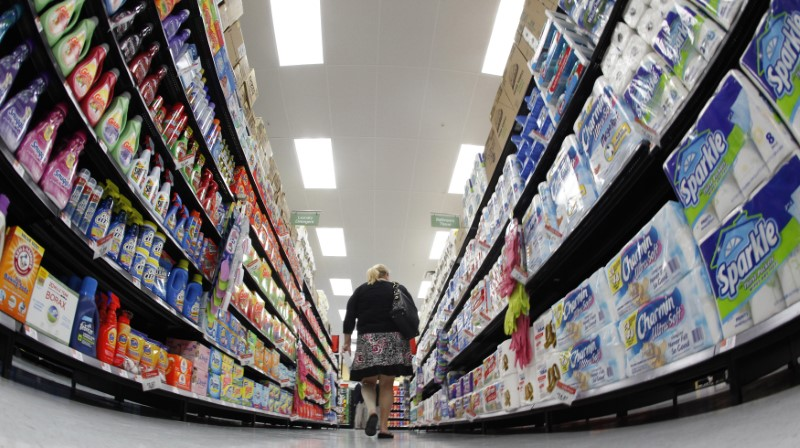 File photo of shopper walking down aisle in newly opened Walmart Neighborhood Market in Chicago