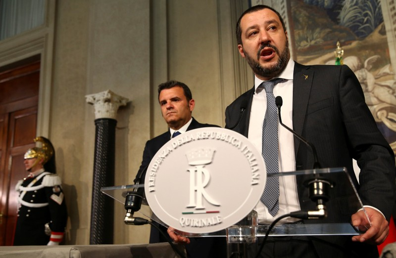 League party leader Matteo Salvini speaks to the media during the second day of consultations with Italian President Sergio Mattarella at the Quirinal Palace in Rome