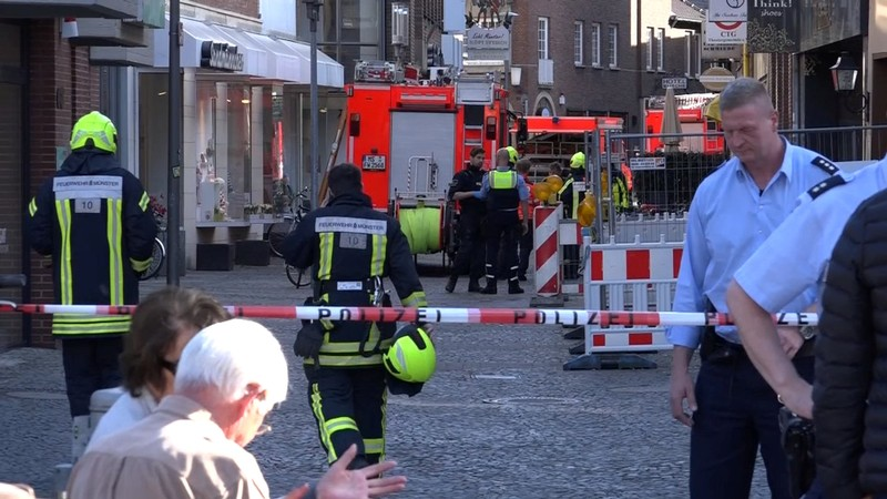 Police block a street in Muenster where a vehicle drove into a group of people killing several and injured many