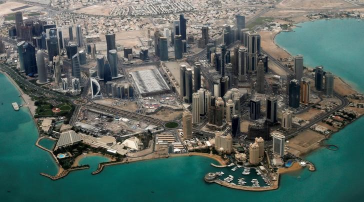 FILE PHOTO: An aerial view of Doha's diplomatic area
