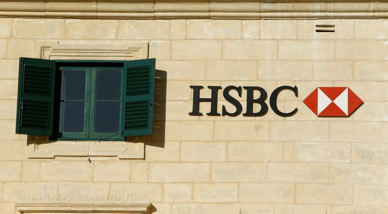 HSBC bank signage is seen on a bank branch in Valletta