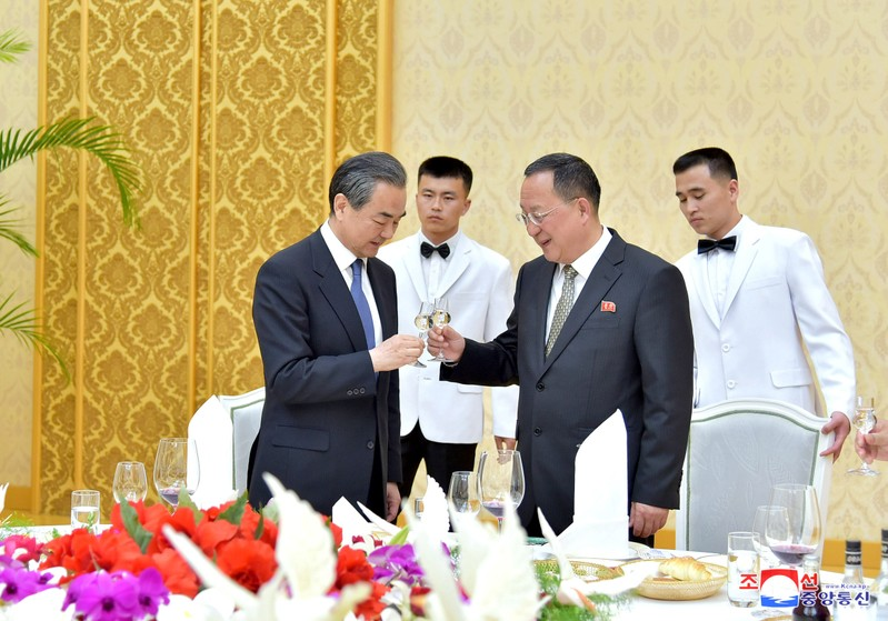 China's state councillor Wang Yi attends a meeting with North Korea's Foreign Minister Ri Yong Ho in Pyongyang
