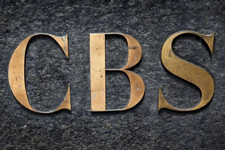 FILE PHOTO: The CBS television network logo is seen outside their offices on 6th avenue in New York