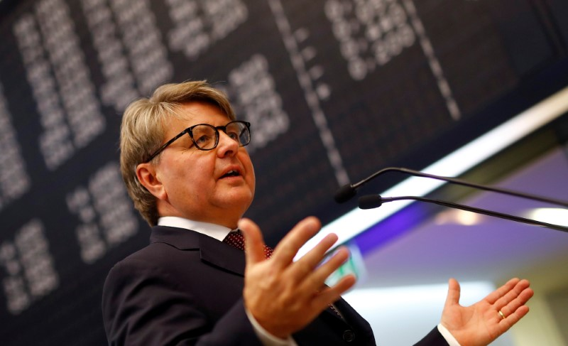 FILE PHOTO: Theodor Weimer, CEO of German stock exchange Deutsche Boerse AG, informs the media about the planned renovations at the trading floor of Frankfurt's stock exchange