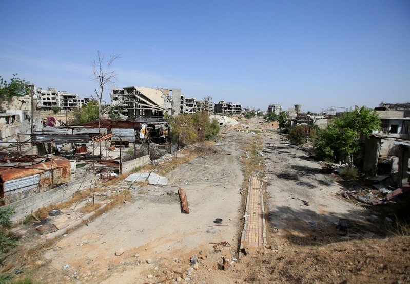 A view of a damaged site in Jobar, eastern Ghouta, in Damascus