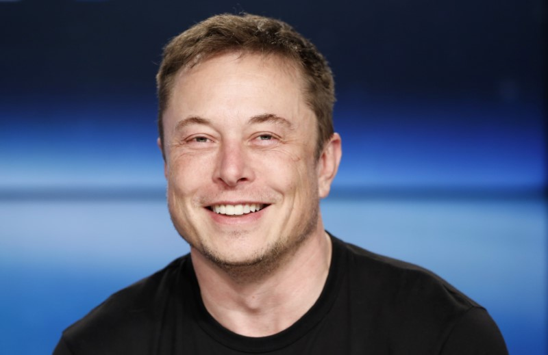 SpaceX founder Musk at a press conference following the first launch of a SpaceX Falcon Heavy rocket in Cape Canaveral