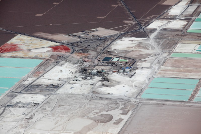 FILE PHOTO: Aerial view of the brine pools and processing plant of the SQM lithium mine on the Atacama salt flat in the Atacama Desert