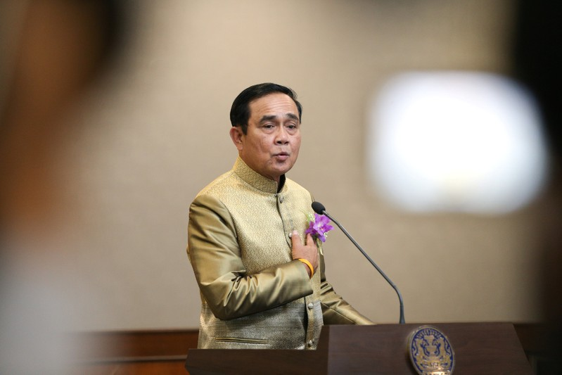 FILE PHOTO: Thailand's Prime Minister Prayuth Chan-ocha gestures during a news conference after a weekly cabinet meeting at Government House in Bangkok,