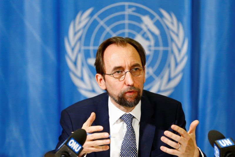 UN High Commissioner for Human Rights Zeid Ra'ad al-Hussein of Jordan speaks during a news conference in Geneva