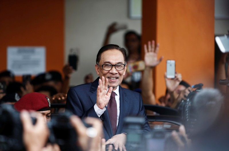 Malaysian politician Anwar Ibrahim waves as he leaves a hospital where he is receiving treatment, ahead of an audience with Malaysia's King Sultan Muhammad V, in Kuala Lumpur