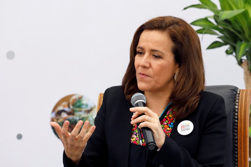 Independent presidential candidate Margarita Zavala gestures during the 16th National Tourism Forum at the Chapultepec Castle in Mexico City