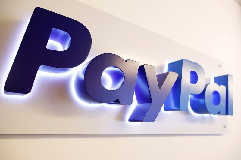 FILE PHOTO: The PayPal logo is seen at a high-tech park in Beersheba