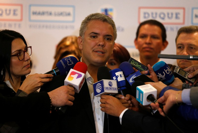 Colombian presidential candidate Ivan Duque speaks during a campaign event in Bogota