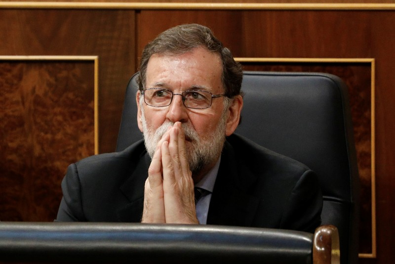 Spain's Prime Minister Mariano Rajoy attends a 2018 budget plenary session at Parliament in Madrid