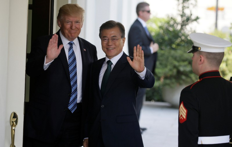 U.S. President Trump welcomes South Korean President Moon Jae-in at the White House in Washington