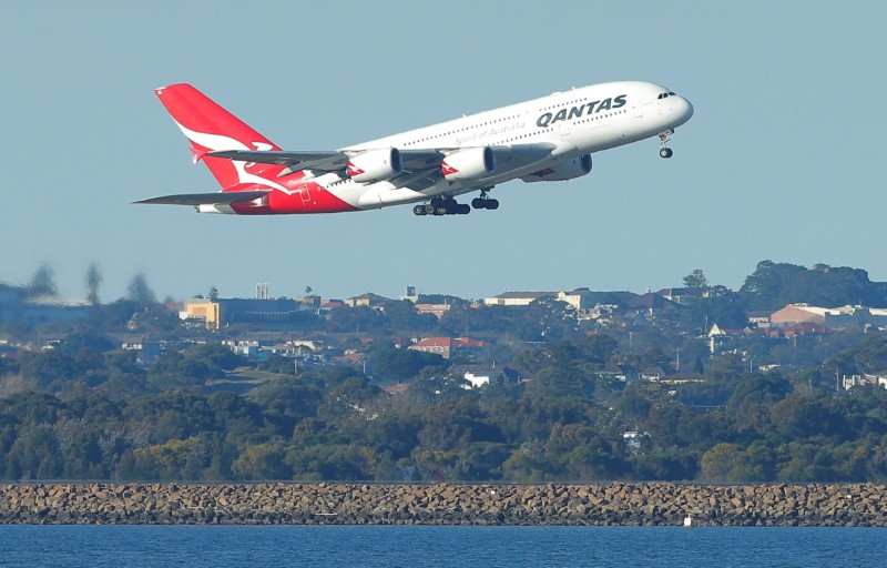 FILE PHOTO - A Qantas A380 aircraft takes off from Sydney International Airport in Australia