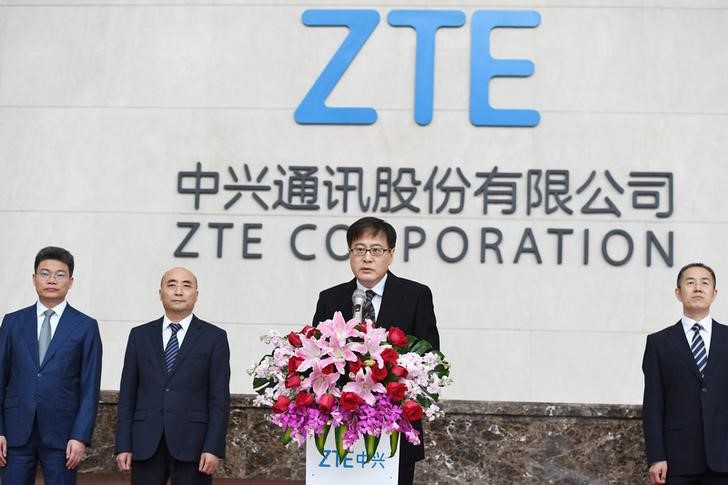 ZTE Corp's Chairman Yin Yimin speaks at a news conference at ZTE's headquarters in Shenzhen