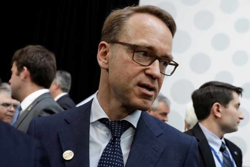 FILE PHOTO - German Bundesbank President Weidmann is seen after G-20 finance ministers and central banks governors family photo during the IMF/World Bank spring meeting in Washington