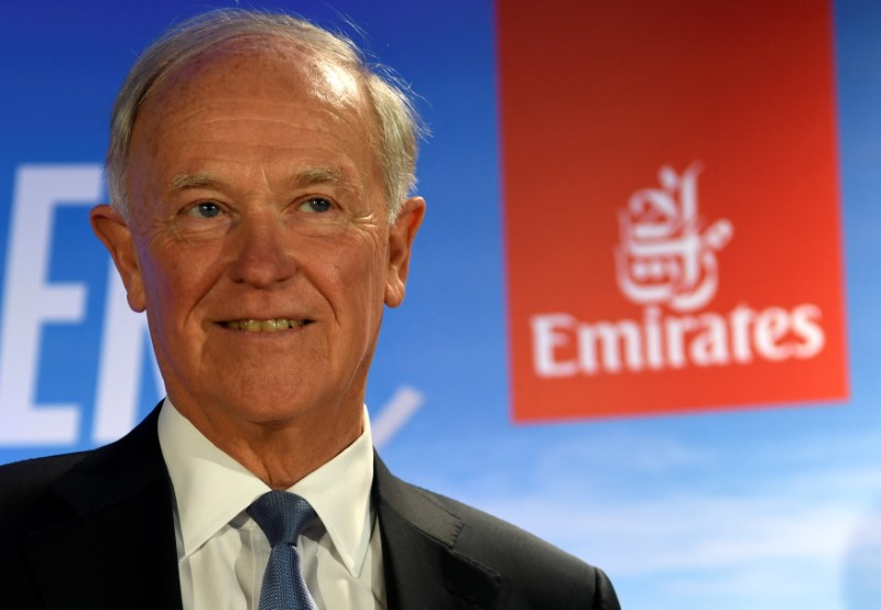 FILE PHOTO: Tim Clark, President of Emirates Airlines, delivers his speech during a presentation of Emirates Boeing 777 at the airport in Hamburg